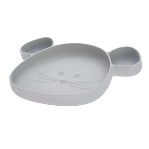 Lässig Section Plate Silicone - Little Chums Mouse Grey