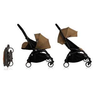 Babyzen YOYO² 0+ Kinderwagen - Frame Zwart + Newborn Pack & Color Pack 6+ - Toffee
