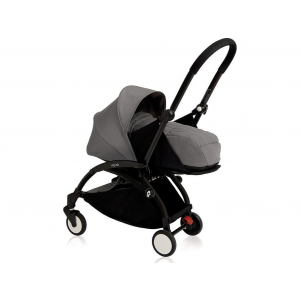 Babyzen Yoyo Kinderwagen Black Frame + Grey Autostoelen & Newborn Pack & Color Pack 6+ - Grey