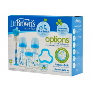 Dr. Brown's Giftset Brede halsfles Blauw