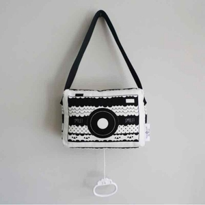 Hip Huisje muziekdoosje fototoestel zwart wit
