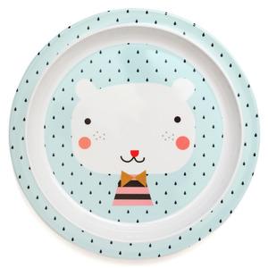 Petit Monkey melamine bord met rand beer blauw Ø21,5 cm