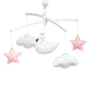 Pouce et Lina muziekmobiel zwaan roze/wit