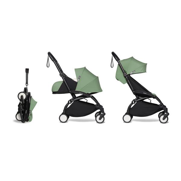 BABYZEN YOYO² 0+ Kinderwagen - Frame Zwart + Newborn Pack & Color Pack 6+ - Peppermint