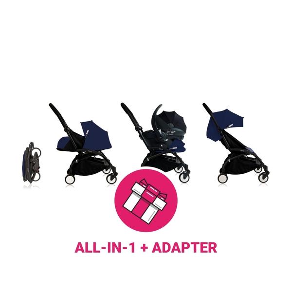 Babyzen Yoyo Kinderwagen Black Frame + Grey Autostoelen & Newborn Pack & Color Pack 6+ - Airfrance Blue