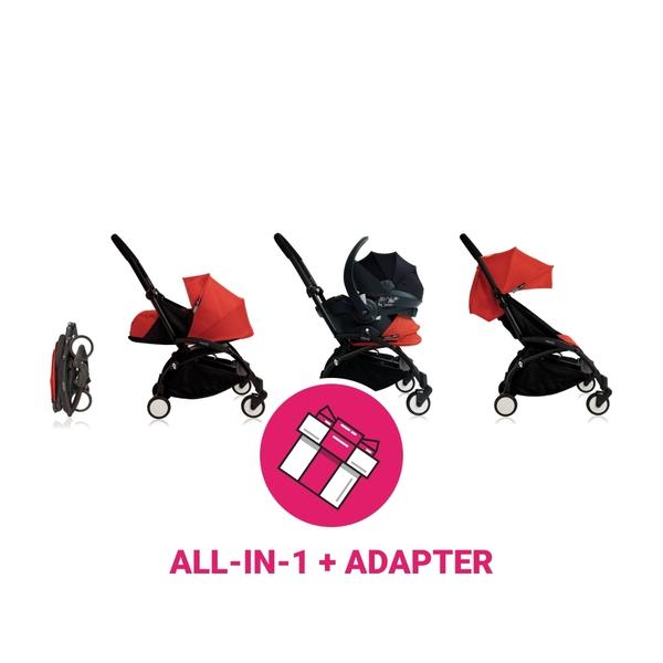 Babyzen Yoyo Kinderwagen Black Frame + Black Autostoelen & Newborn Pack & Color Pack 6+ - Red