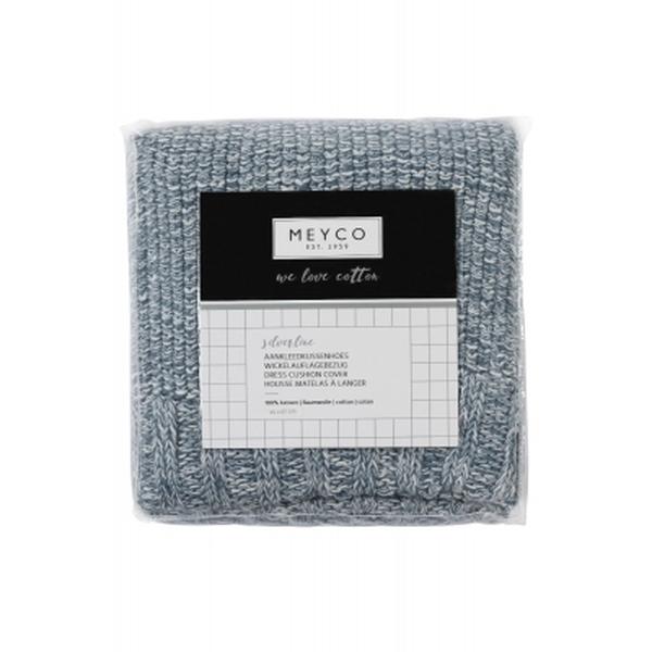 Meyco Silverline gebreide aankleedkussenhoes relief mixed denim