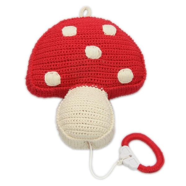 Anne Claire Petit muziekdoosje paddenstoel rood met witte stippen