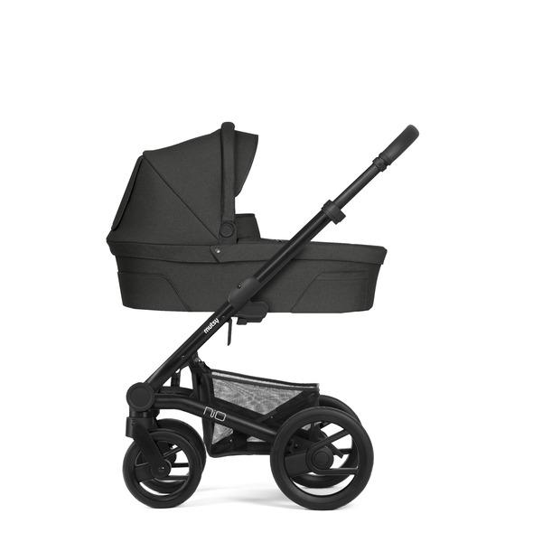 Mutsy Nio Kinderwagen, frame - Black, grip - Grey, zit en reiswieg - Steel Grey